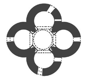 Схема крестово-купольного храма квадрифолий